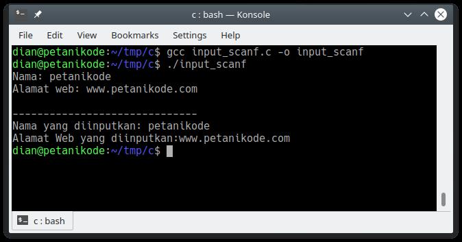 Program input dengan scanf di C