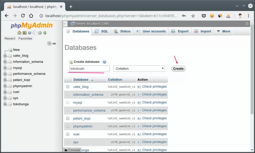 Membuat database baru