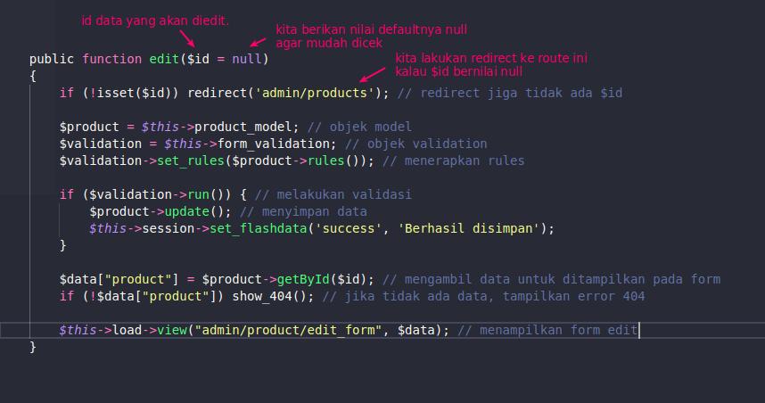 Kode untuk edit data