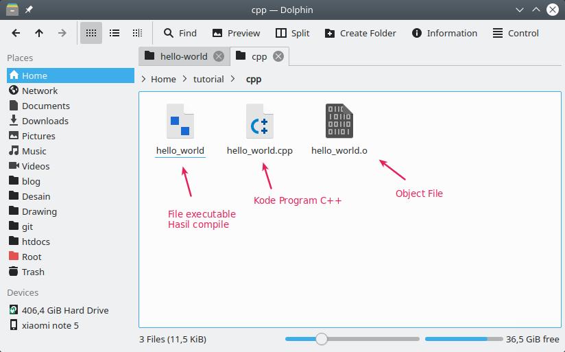 Hasil compile program C++ dengan Codeblocks