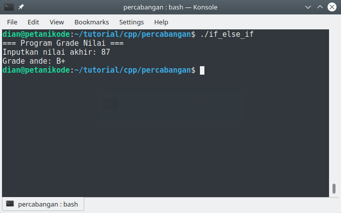 Contoh program percabangan if/else/if di C++