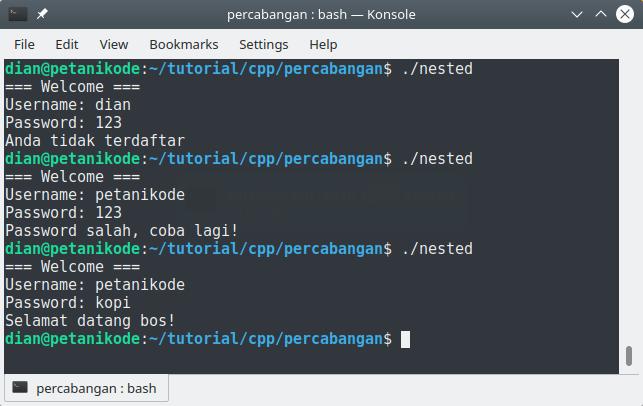 Percabangan bersarang pada C++