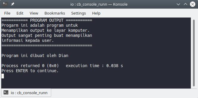 Program output di C++