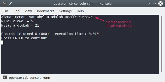 Program dengan operator pointer