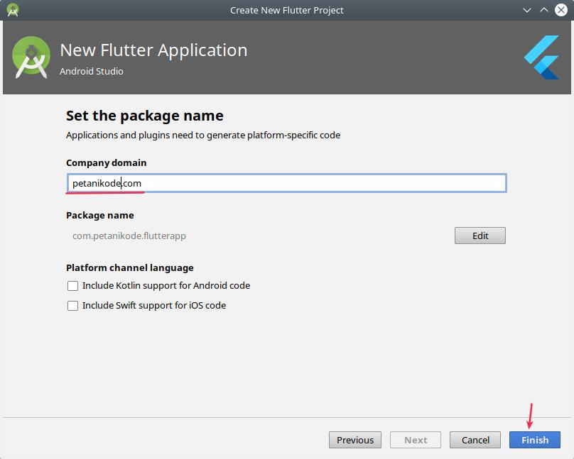 Nama package untuk aplikasi