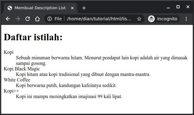 Contoh description list