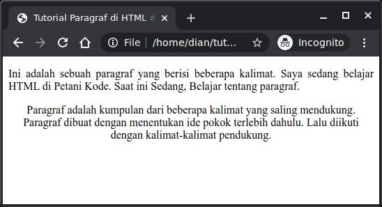 Perataan teks paragraf dengan CSS