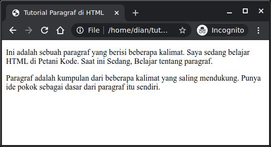 Contoh paragraf di HTML