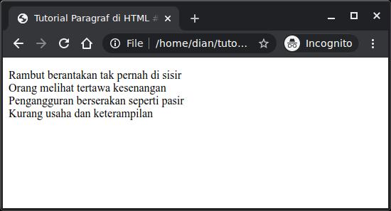 Menampilkan pantun di HTML dengan tag br