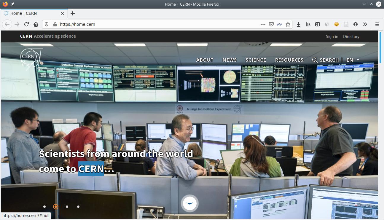 WEbsite CERN (2020)