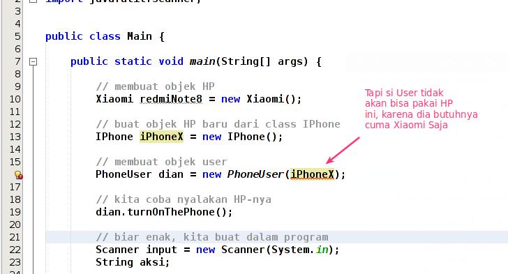 Phoneuser menggunakan objek iphonex