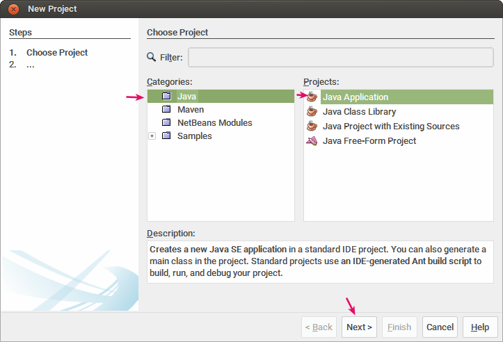 Memilih project Java
