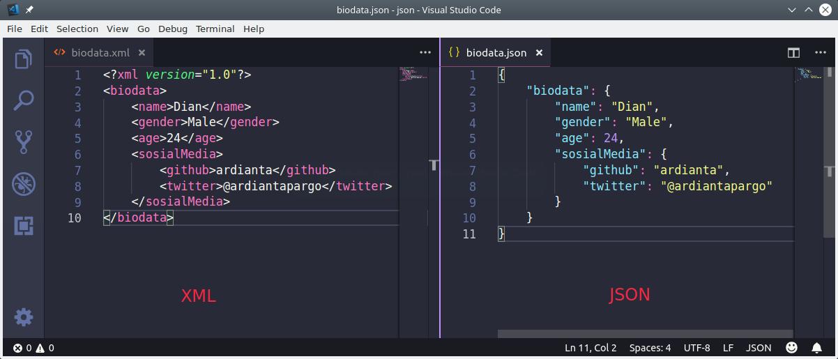 Perbandingan JSON dengan XML