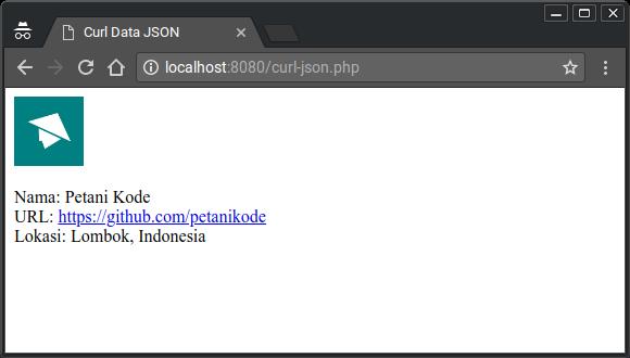 Contoh Hasil CURL JSON ditampilkan dalam HTML