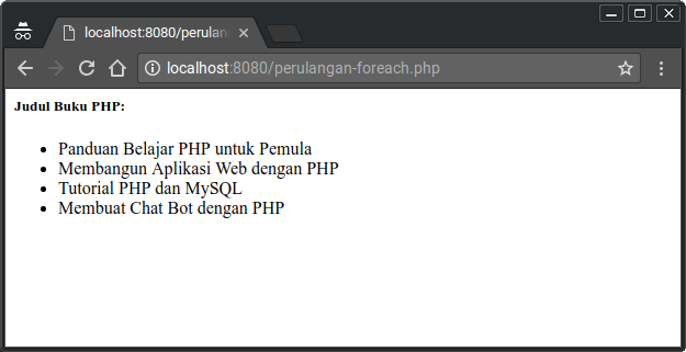 Contoh perulangan foreach di PHP