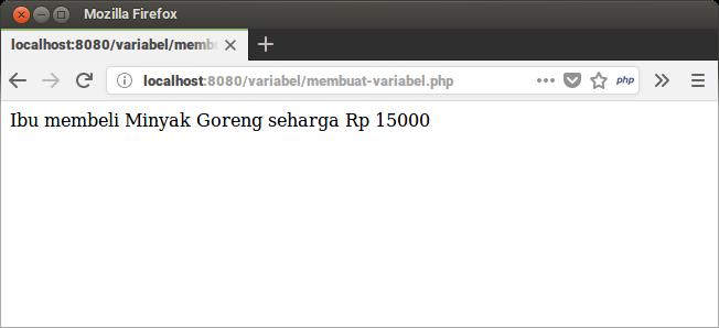 Hasil Program Variabel PHP