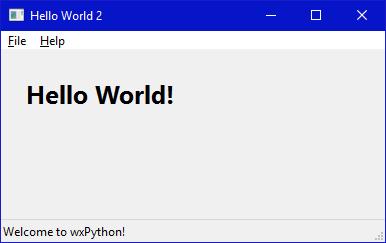Aplikasi GUI Hello World dengan wxPython