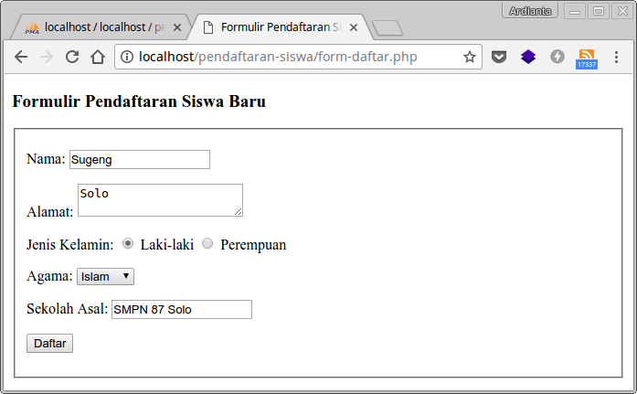 Input data di form pendaftaran