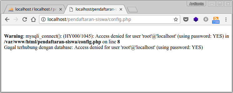 Koneksi PHP dengan MySQL yang gagal