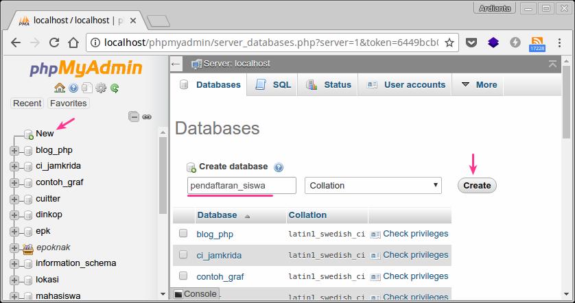 Membuat database di phpmyadmin